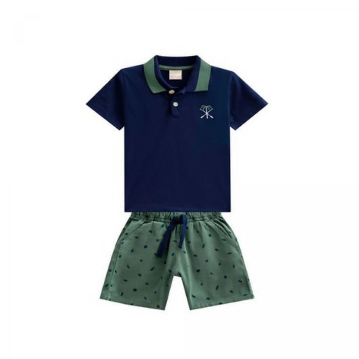 Conjunto 2 Peças De Algodão Blusa Polo Azul Marinho E Bermuda Verde Coqueiro E Remos Milon