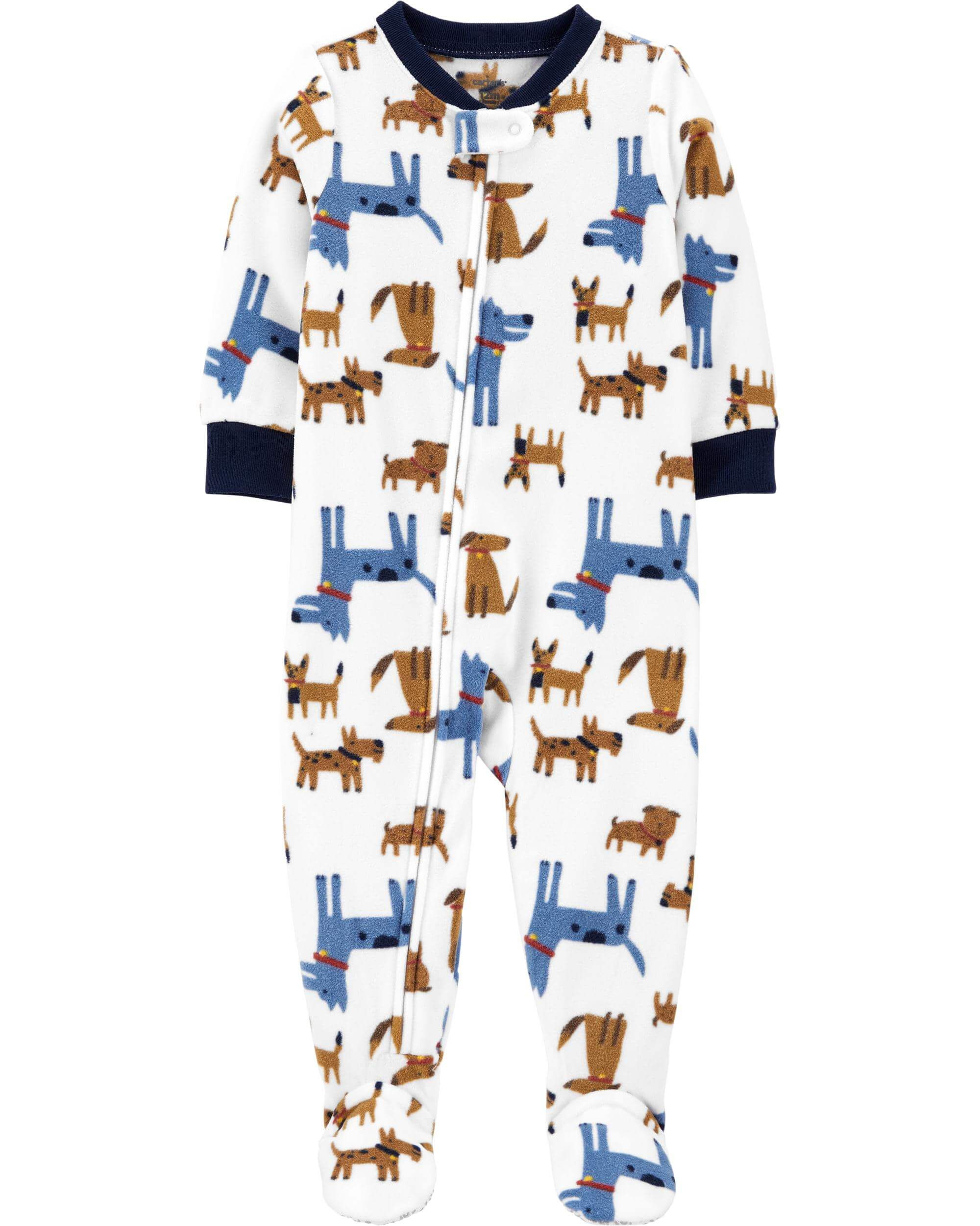 Macacão Fleece Com Pé E Zíper Cachorrinhos Branco Carter's