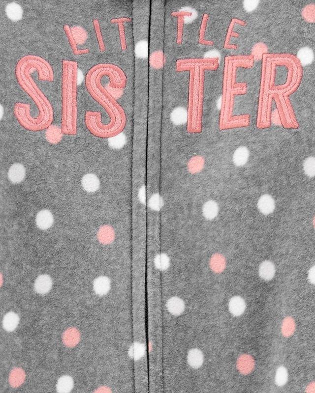 Macacão Fleece Com Pé Little Sister Bolinhas Cinza Carter's Baby