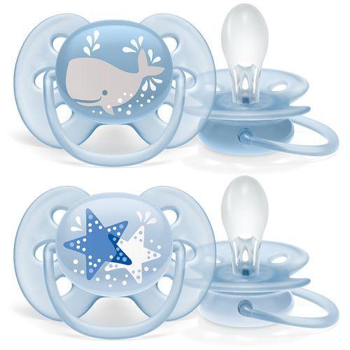 Chupeta Ultra Soft 6-18m Tamanho 2 Baleia E Estrela Azul Philips Avent