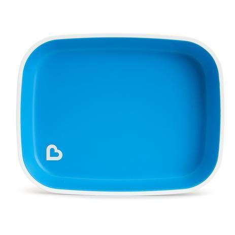Pratos Splash Sem Divisória Com Base Anti Derrapante Azul Munchkin