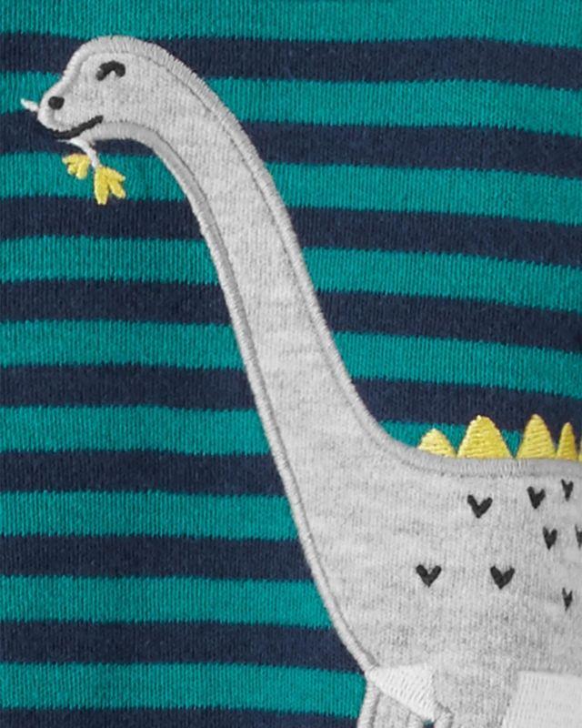 Macacão De Algodão Com Pé Listrado Dinossauro Verde Carter's