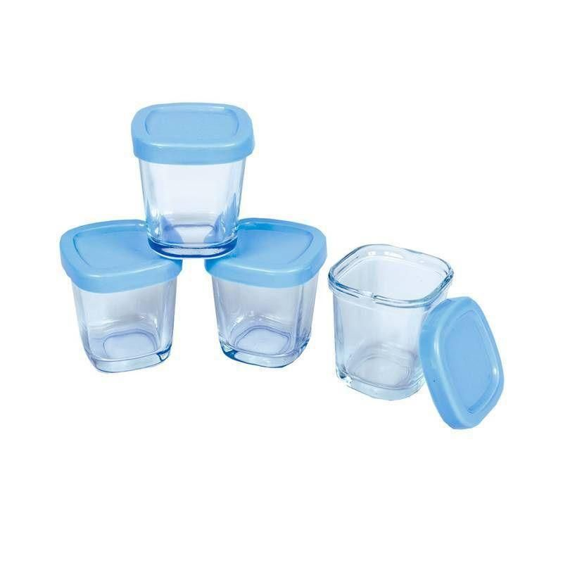 Potes De Vidro P/ Armazenar Leite Materno Azul Clingo