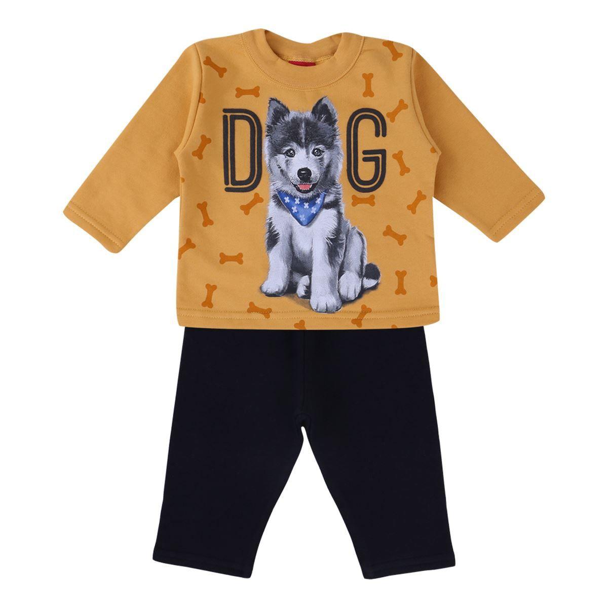 Conjunto De Moletom Casaco E Calça Dog Amarelo Kyly