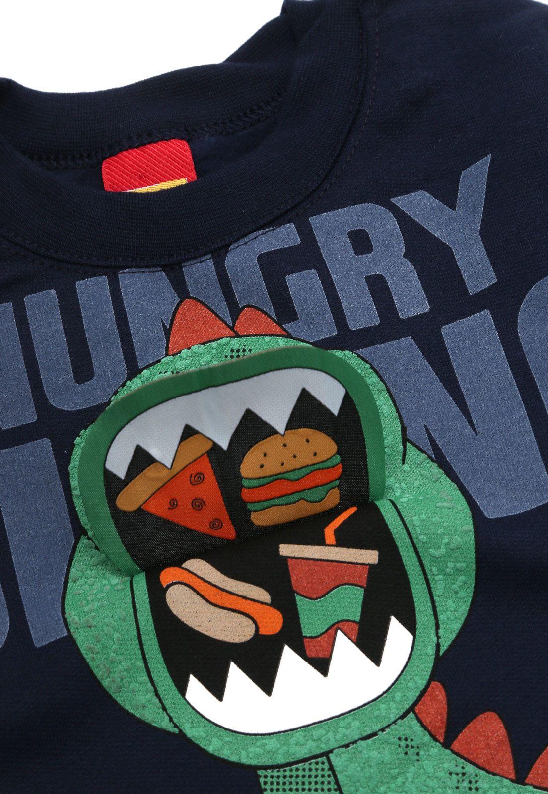 Conjunto De Moletom Casaco E Calça Hungry Dino Azul Marinho Kyly