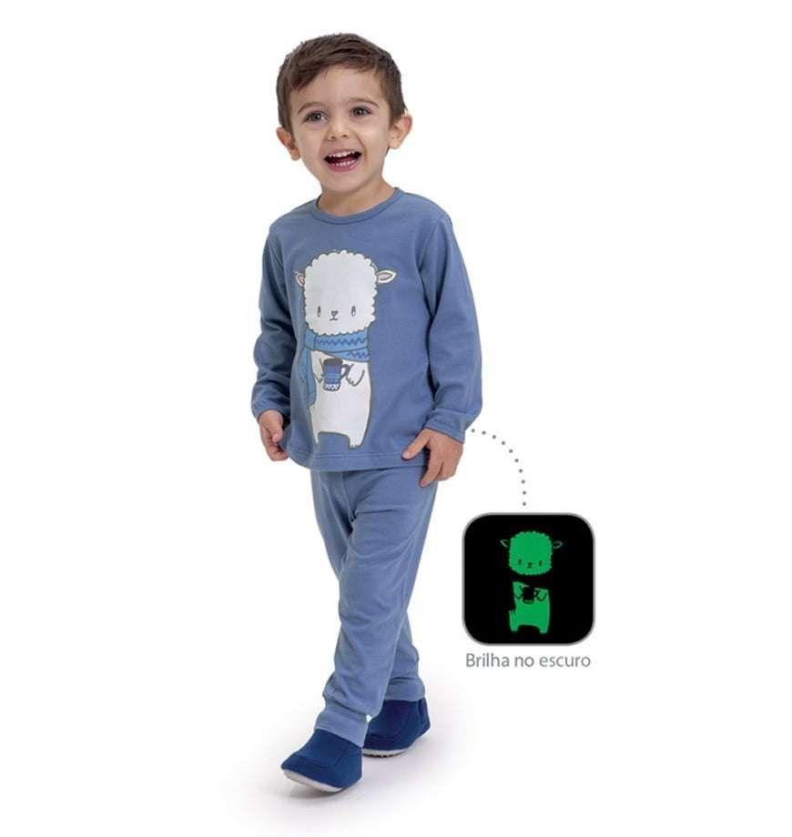 Pijama De Algodão E Modal Ovelha Azul Dedeka