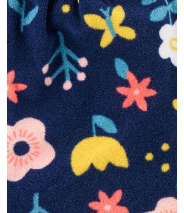 Conjunto 3 Peças Colete De Fleece Floral Azul Marinho Carter's