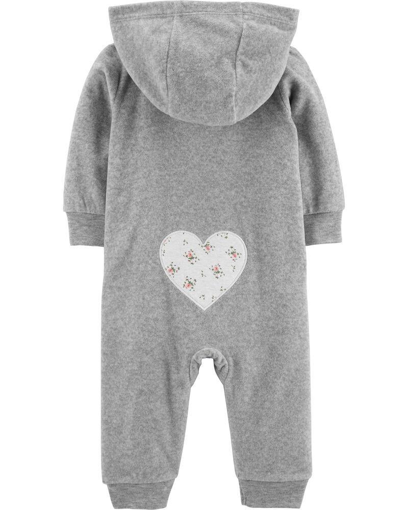 Macacão Fleece Com Zíper Coração Florido Cinza Carter's Baby
