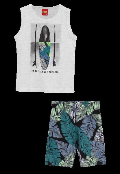 Conjunto 2 Peças De Algodão Prancha De Surf Floral Regata E Bermuda Cinza Kyly