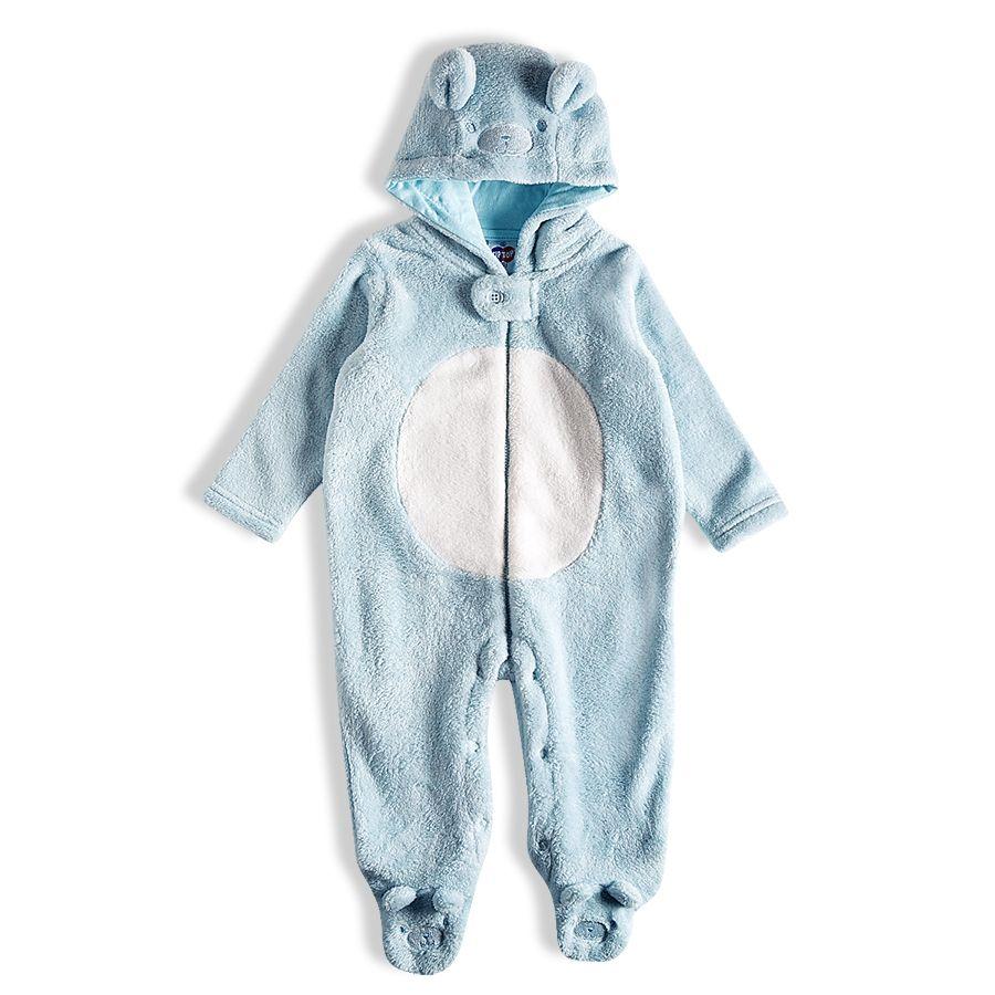 Macacão Fleece Com Pé E Zíper Urso Azul Bebê Tip Top