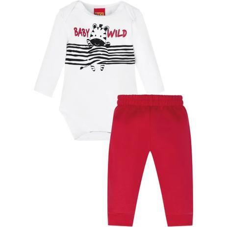 Conjunto De Algodão Com Bodie Manga Longa Branco E Calça Vermelha Baby Wild Zebra Kyly