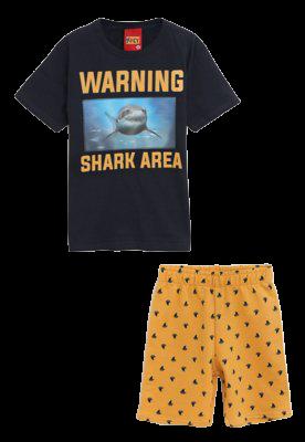 Conjunto 2 Peças De Algodão Tubarão Warning Shark Area Azul Marinho E Amarelo Kyly
