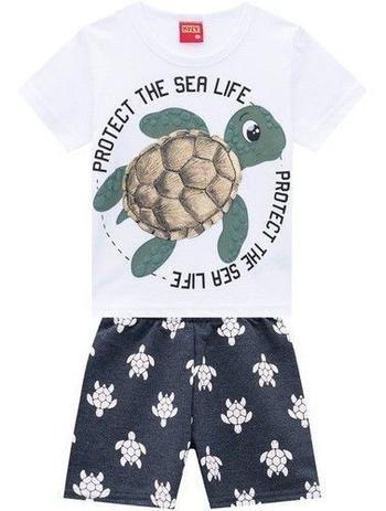 Conjunto 2 Peças De Algodão Tartaruga Protect The Sea Life Branco Kyly