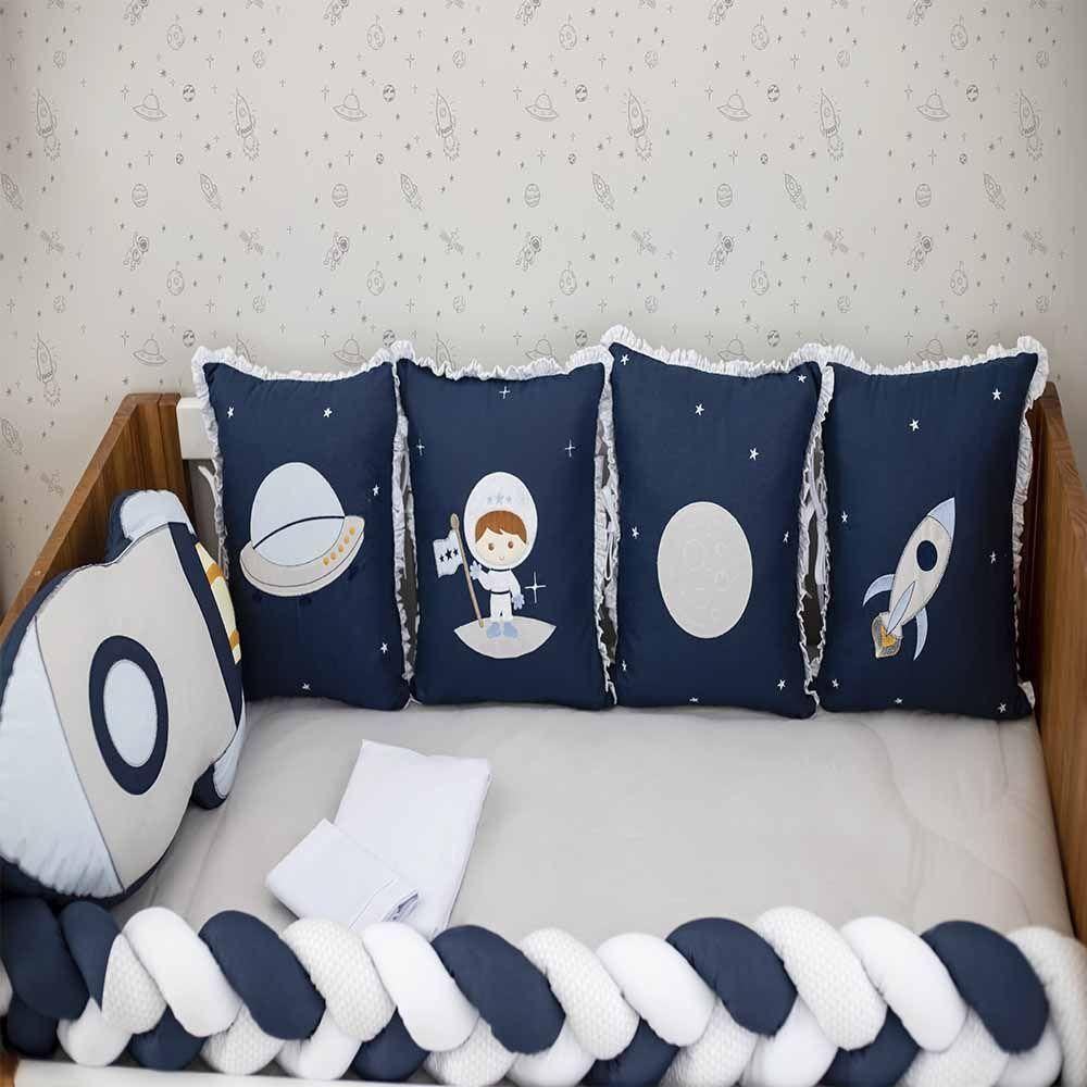 Kit De Berço 10pçs Astronauta Azul Marinho Baby Magia Brubreleu Baby