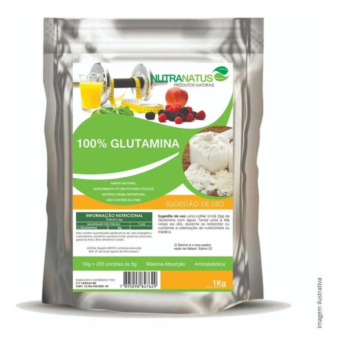 L Glutamina Importada em Pó 600g