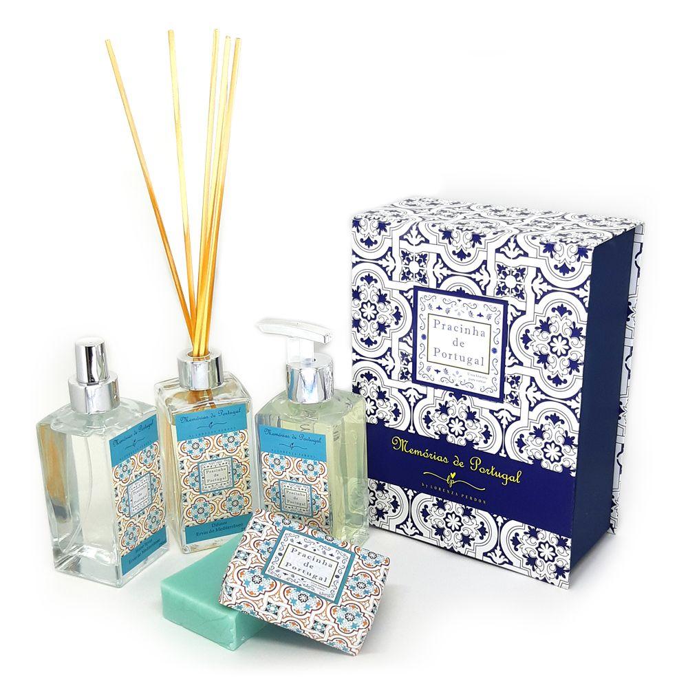 Caixa Presente + Difusor + Home Spray + Sabonete Líquido + Sabonete Barra Ervas do Mediterrâneo
