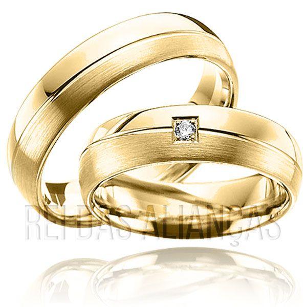 imagem do produto Alianças de Ouro Friso Diagonal | Diamante na Feminina Cód. 260