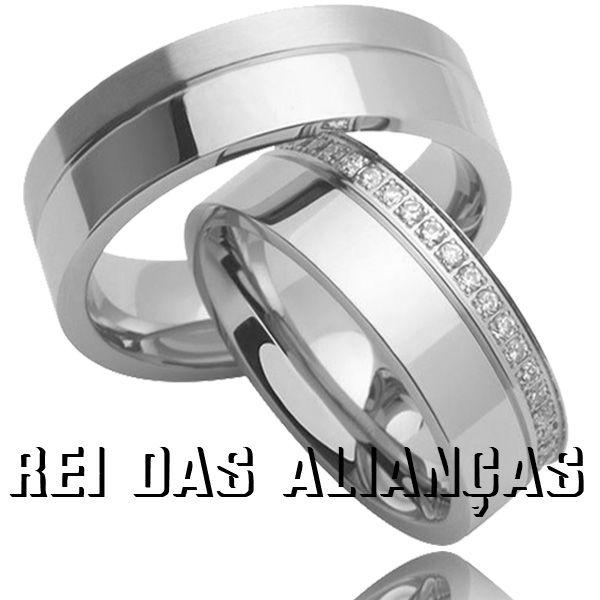 imagem do produto Par de Alianças em Ouro Branco Maravilhosas Cód. 268