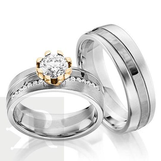 imagem do produto Alianças Prata de Lei, detalhe em ouro 18k  e diamante híbrido na Feminina Cód. 6230