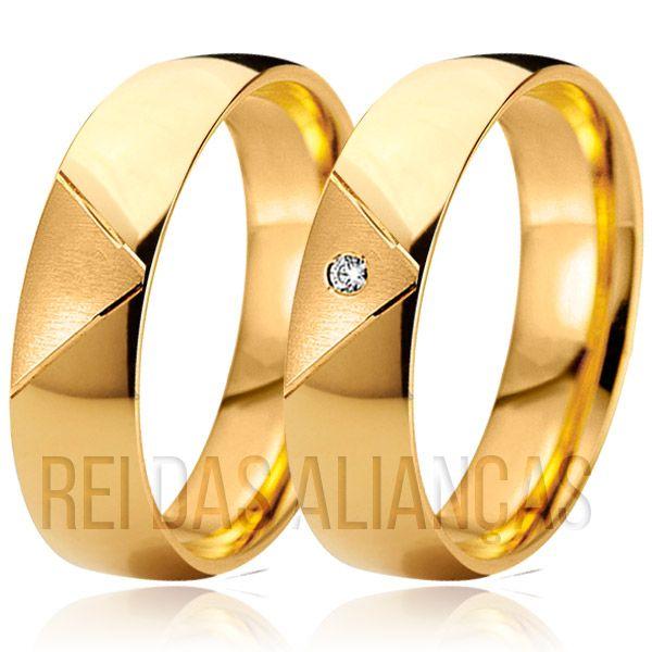 imagem do produto Alianças de Ouro Exclusiva Diamante na Feminina Cód. 055