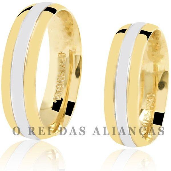 imagem do produto Alianças de Noivado ou Casamento Bicolor Cód. 051