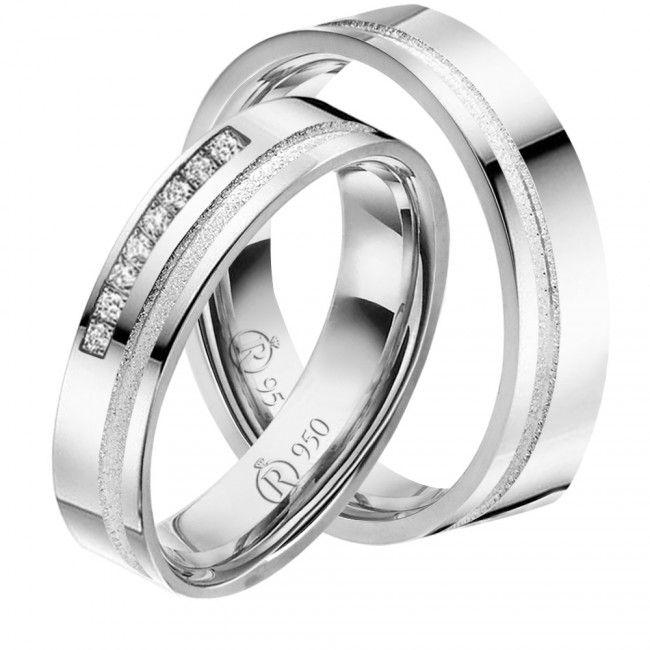 imagem do produto Alianças de prata, chapa reta 8 pedras na feminina Cod. 8611