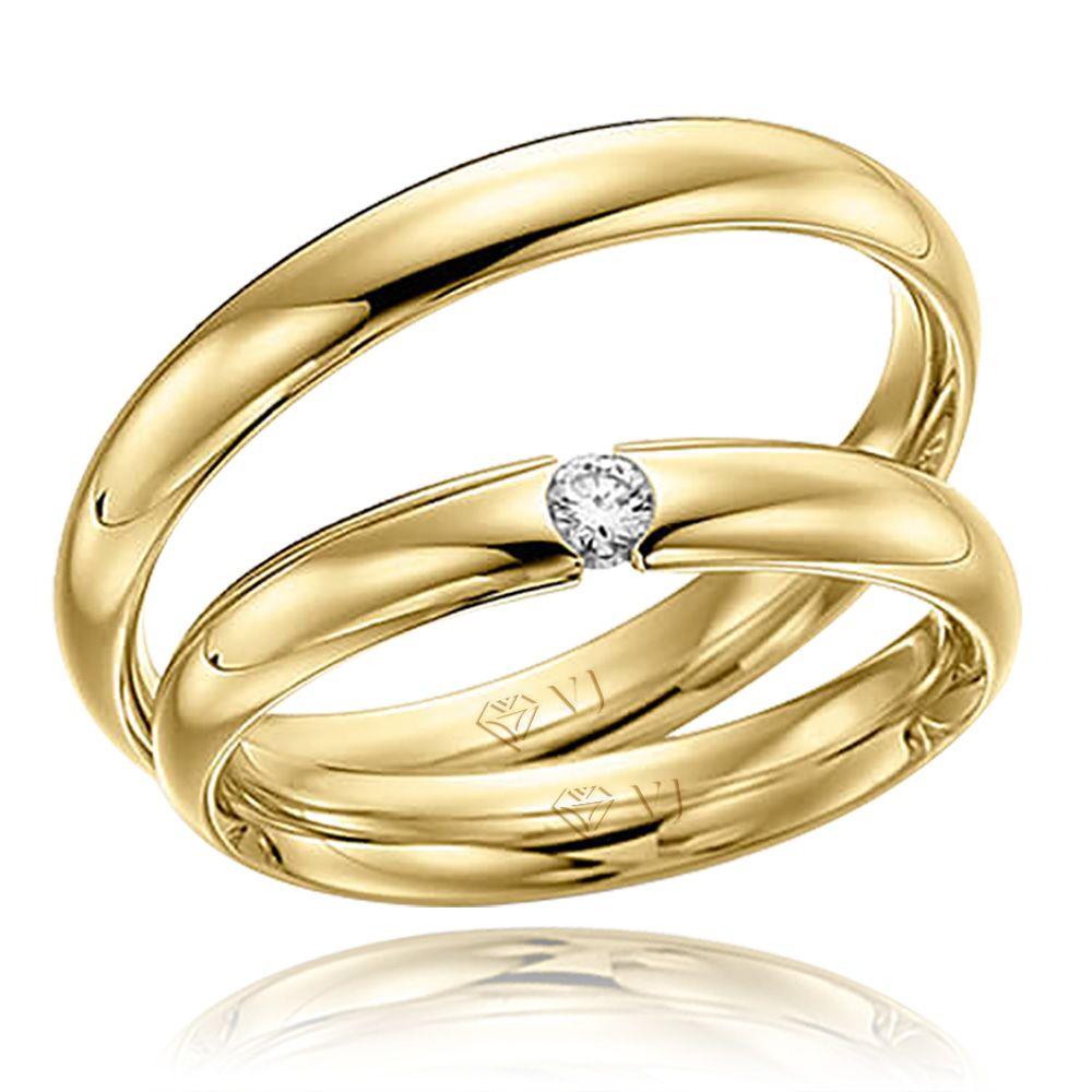 imagem do produto Alianças em Ouro com Diamante na Feminina Cód. 395