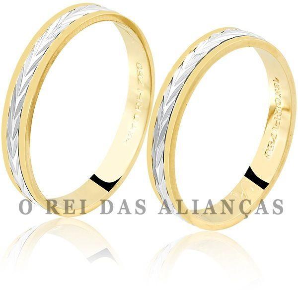 imagem do produto Alianças de Ouro Amarelo e Branco Cód. 087