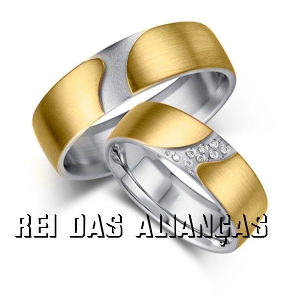 imagem do produto Alianças Ouro Amarelo e Branco Fantasy  Cód. 001