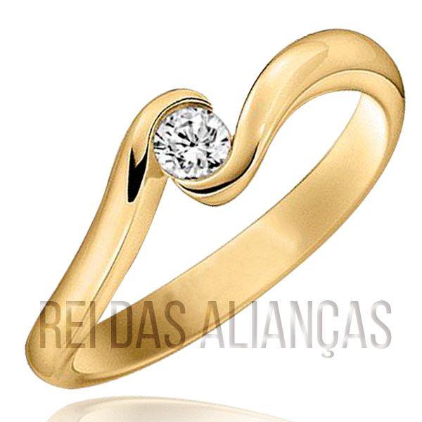 imagem do produto Anel Noivado Solitário 10 Pontos de Diamante Cód.596