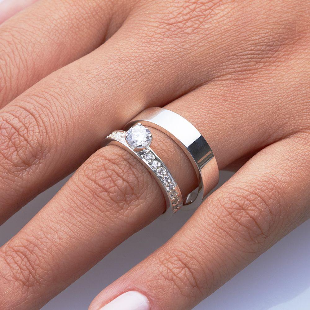 imagem do produto Kit Alianças Personalizada + anel Cód. 8714