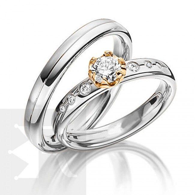 imagem do produto Alianças Prata com ouro 18k no detalhe da pedra Cód. 6227
