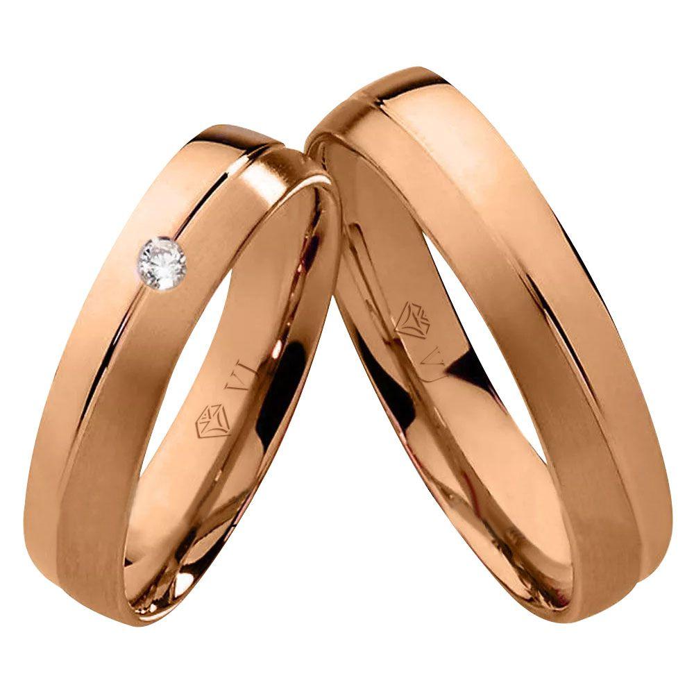 imagem do produto Par de alianças de ouro rosê 10k diamante na feminina - Cód. 305