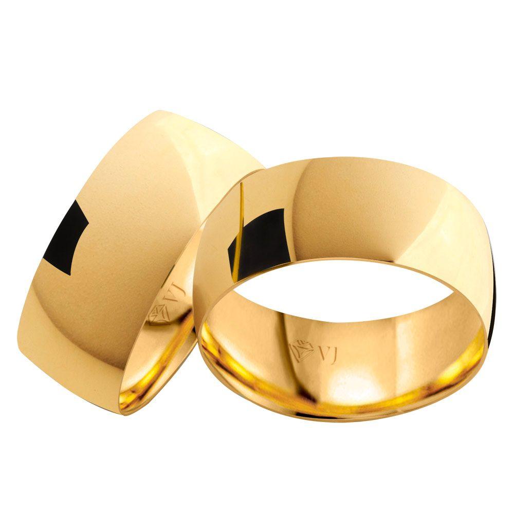 imagem do produto Alianças de Ouro 10k Grossas com 8mm de Largura