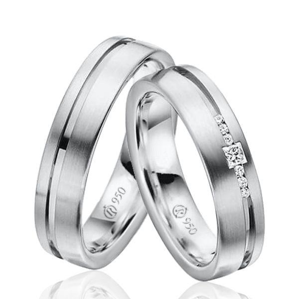imagem do produto Modelo de Alianças de Prata com Pedras na Feminina Cód 8710