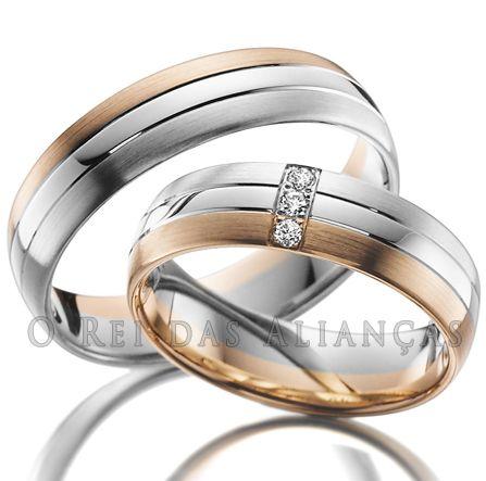 imagem do produto Alianças de Ouro 18k Duas Cores Branco e Rosê Cód. 431