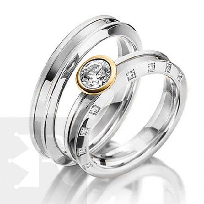 imagem do produto Alianças de Prata com Ouro 18k diamante híbrido na feminina Cód. 6225