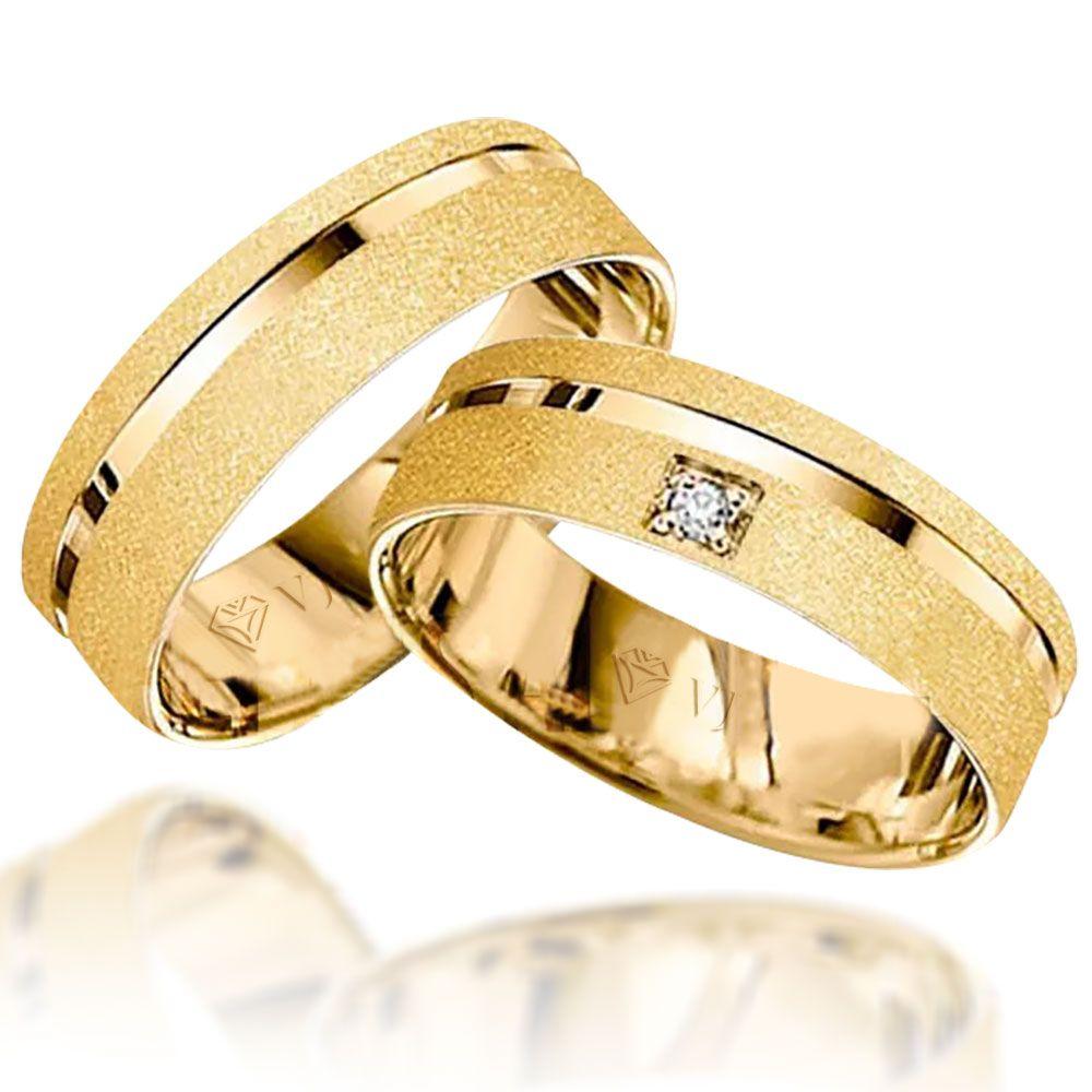 imagem do produto Alianças de ouro 18k quadrada com diamante na feminina Cód. 628