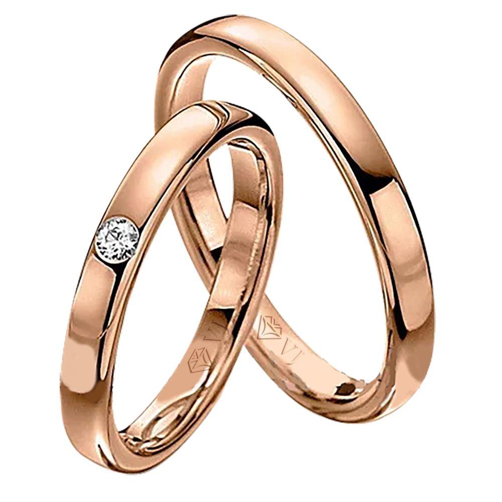 imagem do produto Alianças em Ouro 10k Rosê com diamante na Feminina Cód. 642