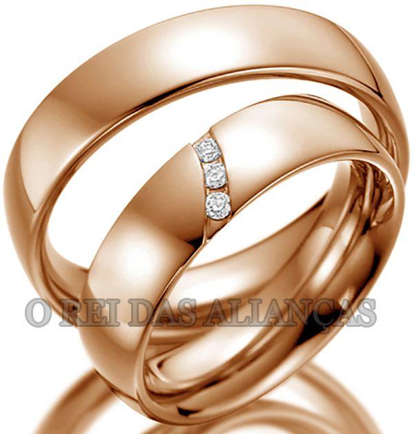 imagem do produto Alianças de Ouro Rosê com 3 diamantes na feminina Cód. 369