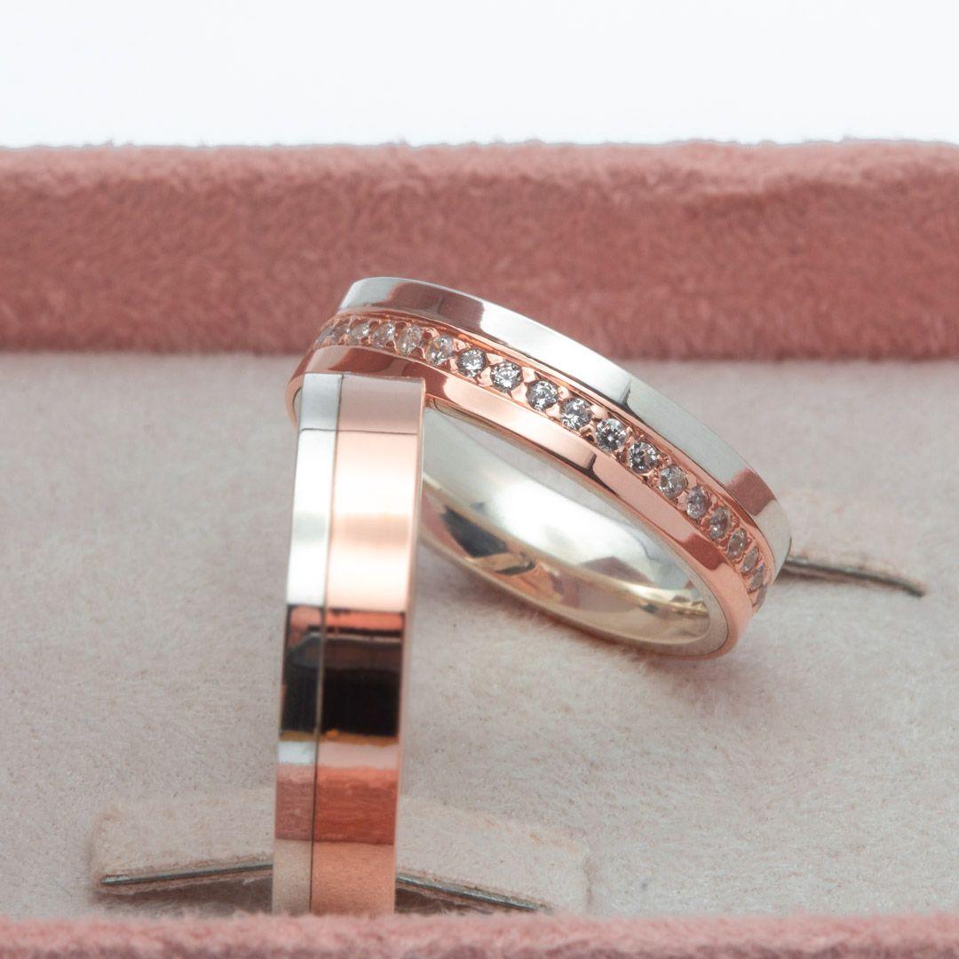 imagem do produto Alianças de Prata com Ouro e Pedras cod. 6229