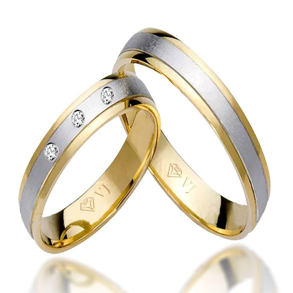 imagem do produto Alianças Ouro 10k Amarelo com Branco 3 diamantes Cód. 689