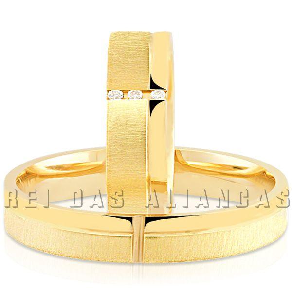 imagem do produto Alianças Quadrada Anatômicas 3 Diamantes na Feminina Cód. 115