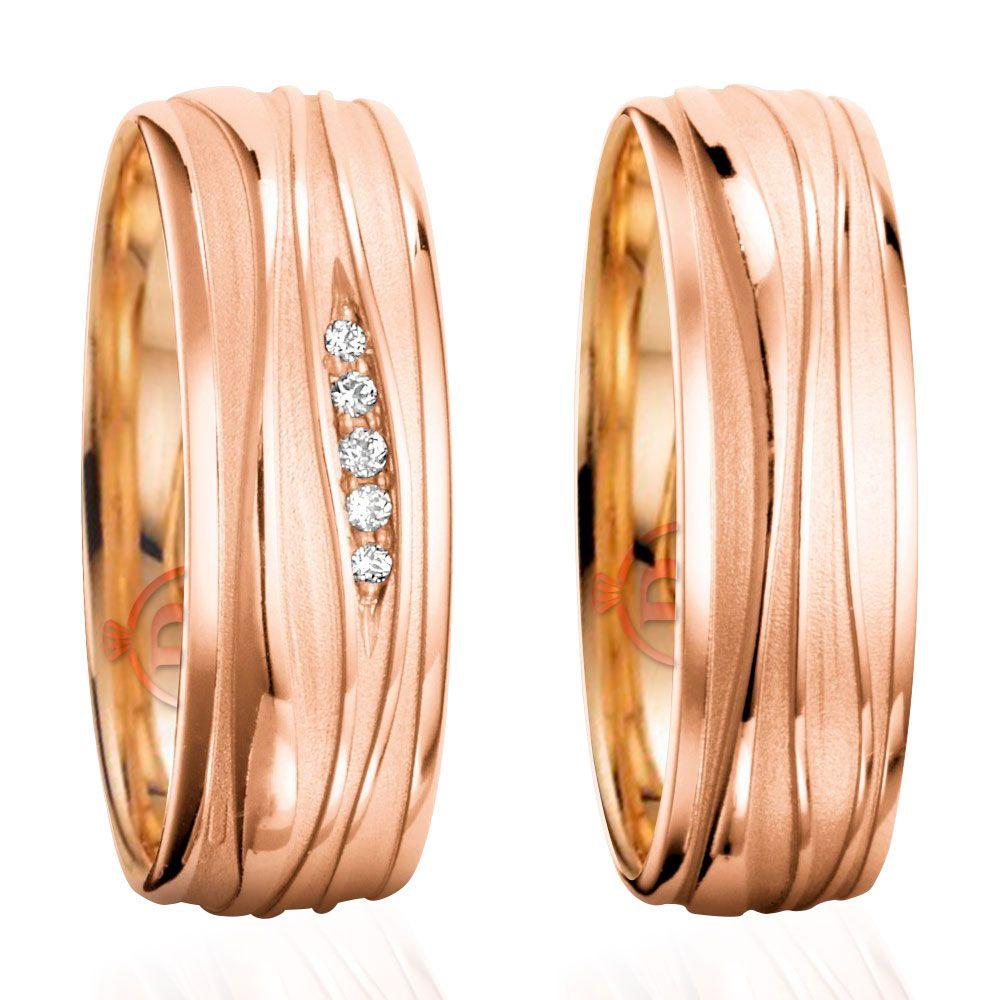 imagem do produto Alianças de Ouro Rosê Infinity com Diamantes na Feminina Cód. 249