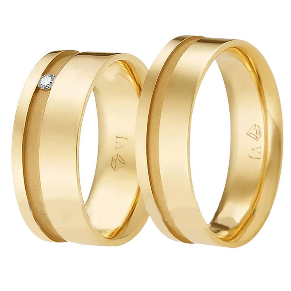 imagem do produto Par de Alianças Quadradas Valentines Cód. 614