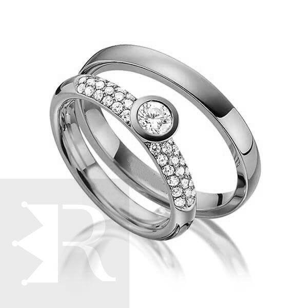 imagem do produto Alianças de compromisso em prata | Line Exclusive Cód. 8674