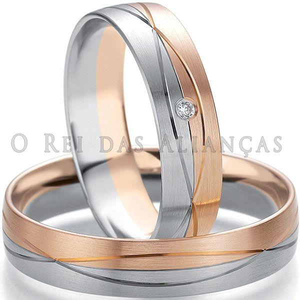 imagem do produto Alianças em Ouro Rosê e Branco Cód. 435