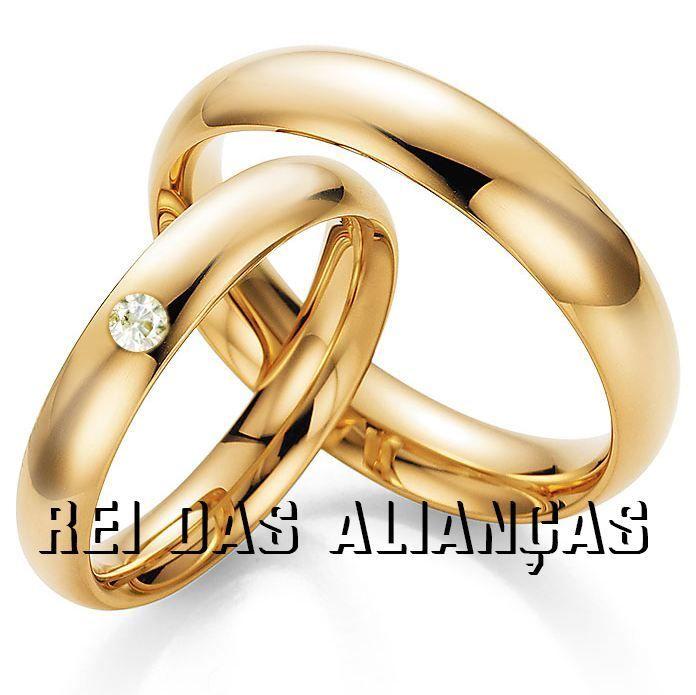imagem do produto Alianças de Ouro com Diamante de 8 pontos na feminina Cód. 300
