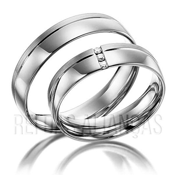 imagem do produto Alianças Ouro Branco, Noivado ou Casamento Cód. 245