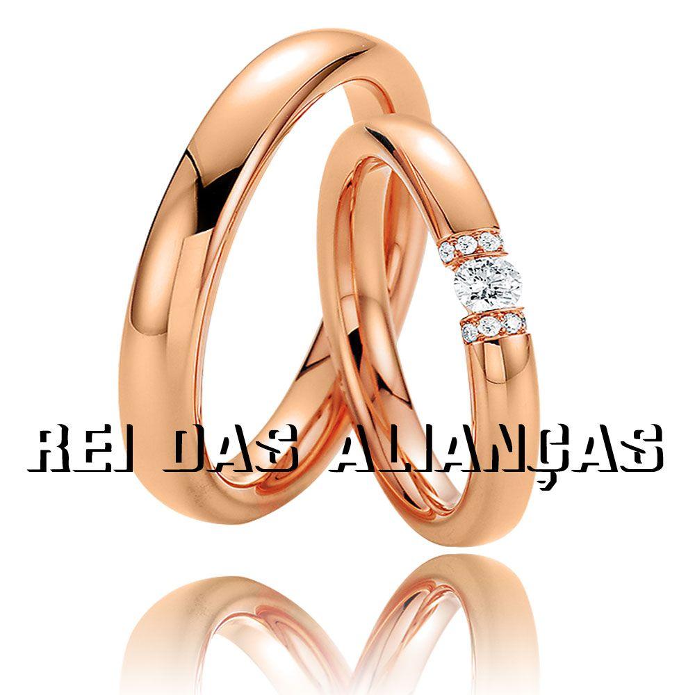 imagem do produto Alianças de Ouro Rosê com 9 Diamantes na Feminina Cód. 716